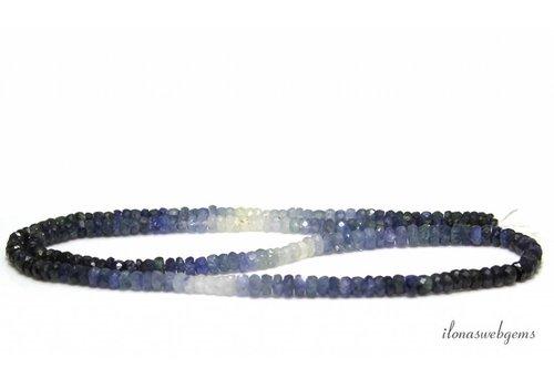 Saffier kralen facet rondel shaded op- en aflopend van ca. 3x2  tot 4x2mm