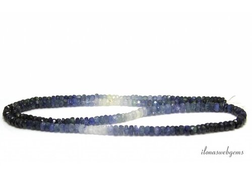 Sapphire beaded faceted roundel shaded up and down from approx. 3x2 to 4x2mm