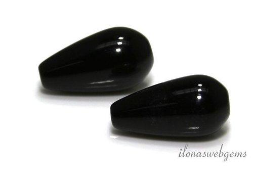 1 paar Onyx pegels  ca. 20x10mm