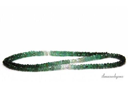Smaragd kralen facet rondel shaded op- en aflopend van ca. 2x1.5 tot 4x2mm