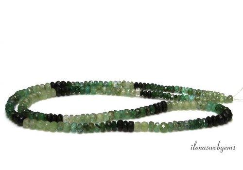 Smaragd kralen facet rondel shaded op- en aflopend van ca. 2x1.5 tot 4x2.5mm