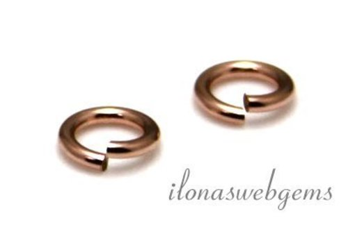 10 stuks Rosé 14k/20 Gold filled oogje open ca. 6x0.6mm