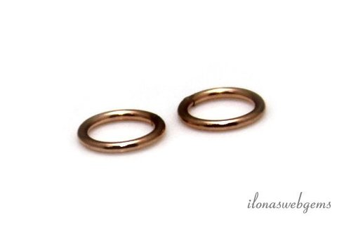 6 stuks Rosé 14k/20 Gold filled oogje gesloten ca. 6x0.8mm