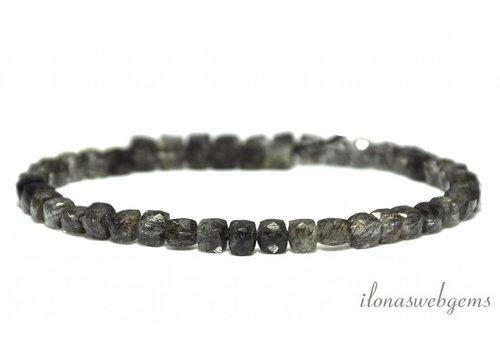 Black Rutile Tourmaline quartz beads cube facet about 4-6mm