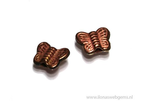 1x `Rosé gold` Hill tribe bead butterfly, approx. 17x13mm