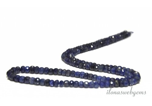 Sapphire beaded faceted roundel on and sloping from approx. 4x2.5 to 5x3mm