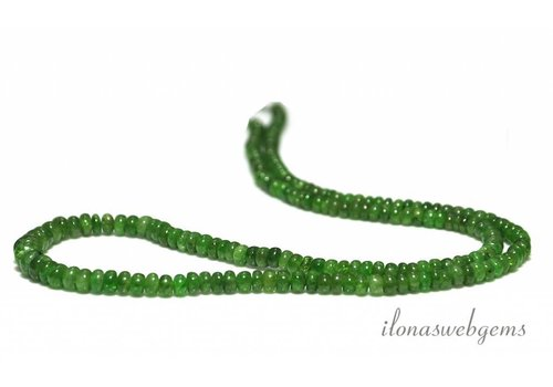 Diopside beads roundel ascending and descending from approx. 3x2 to 5x3.5mm