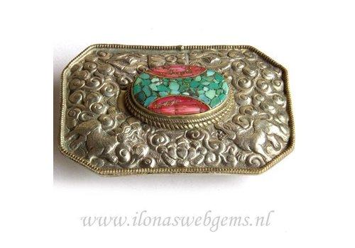 Tibetanische Silber Repousse Schnalle mit Koralle und Türkis