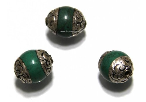 3 pieces Tibetan Howlite bead app. 12x10mm