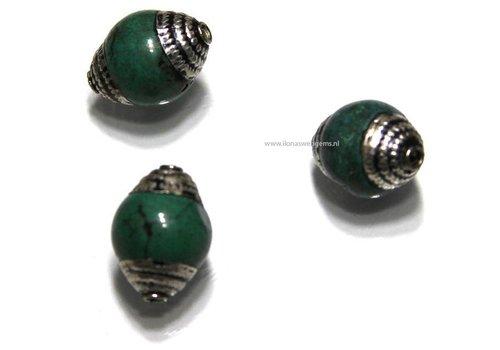 3 pieces Tibetan Howlite bead app. 14x10mm