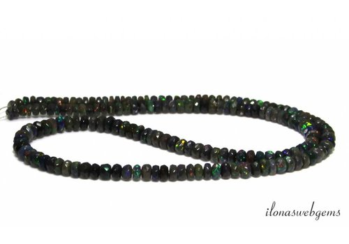 Black Edelopaal bead faceted rondelle ascending and descending from approx. 3x1.5 to 4.5x2.5mm
