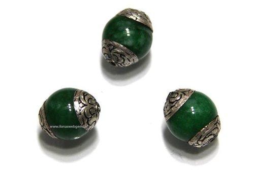 3 stücke Tibetanische Jade  Perle ca. 15x12mm (G142)