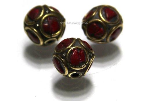 3 stuks Tibetaanse messing kraal met Bloedkoraal