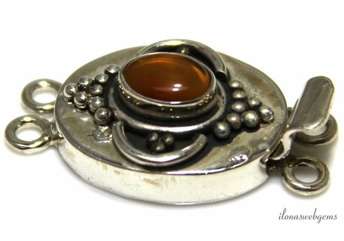 Sterling silver box lock with carnelian - Copy