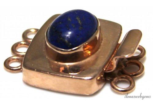 Rosé vermeil bakslotje with Lapis Lazuli