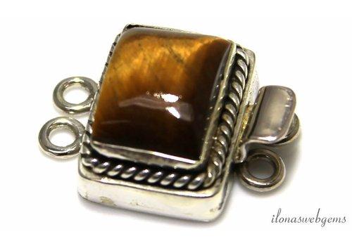 Sterling silver box lock with Tiger Eye