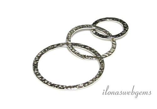 Verzilverde gehamerde ringen 3 delig