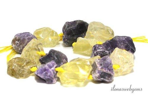 Lemonkwarts Amethyst beads rough approx. 25x20x12mm