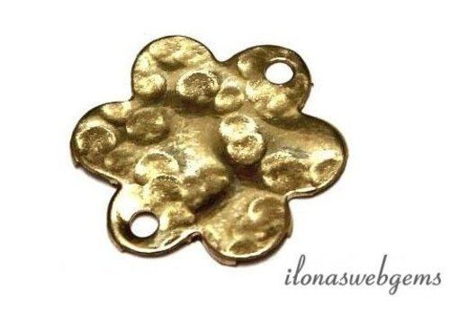 14k/20 Gold filled bedeltje bloem gehamerd ca. 13.5mm