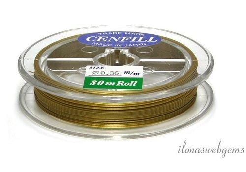 Cenfill RVS gecoat rijgdraad goud 0.36mm (7 draads)