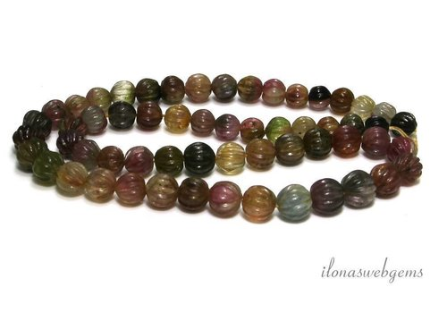 Tourmaline beads cut pumpkin approx. 8x7mm
