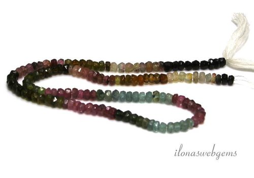 Tourmaline beads facet roundel approx. 4x2.5mm