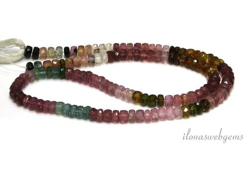 Tourmaline beads facet roundel AA quality approx. 5x3mm