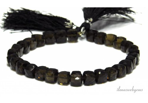 Smoky quartz faceted cube beads