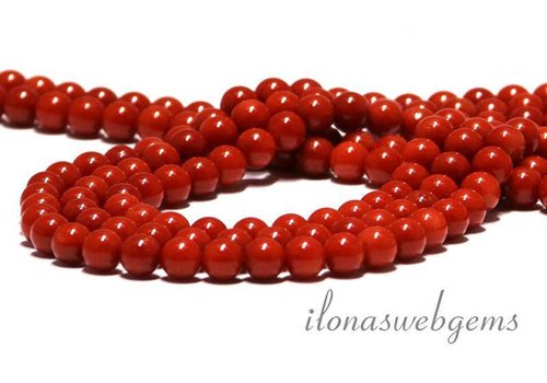 Red coral beads 'old Dutch' around 5.5mm