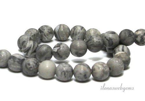 Grey crazy Agaat kralen mat rond grijs ca. 8mm