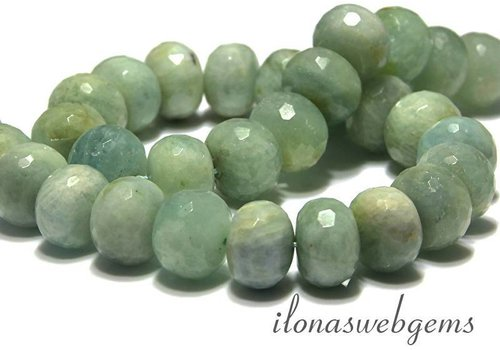 Aquamarine beads facet roundel app. 16x13mm