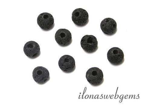 10 pieces of lava rock beads around with large holes approx. 9mm