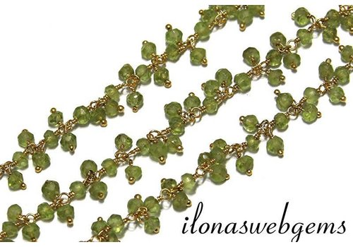 10 cm vermeil Chain with beads Peridot app. 3.5mm