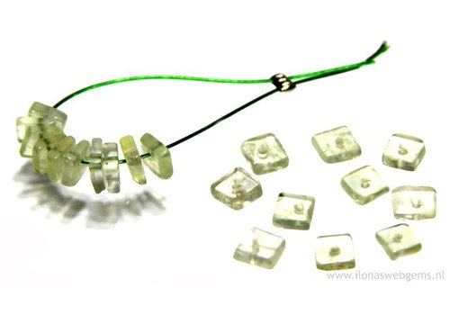 20 pieces Prehniet bead square  app. 4x4mm