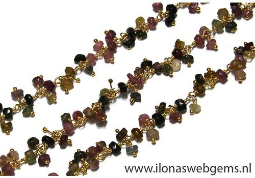 1cm Vermeil necklace with tourmaline beads