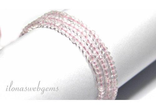 Rose quartz beads facet roundel app. 3.5x3mm