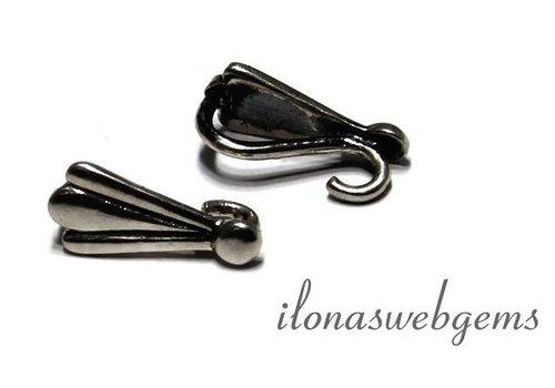 pendanteye / Greifschraube sterling Silver geoxideerd app. 15.5x7mm