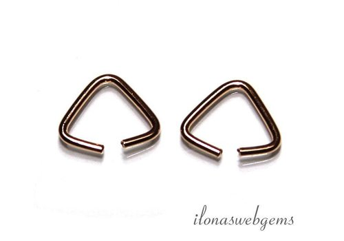 6 pieces Rose Vemeil open driehoek app. 10x8mm