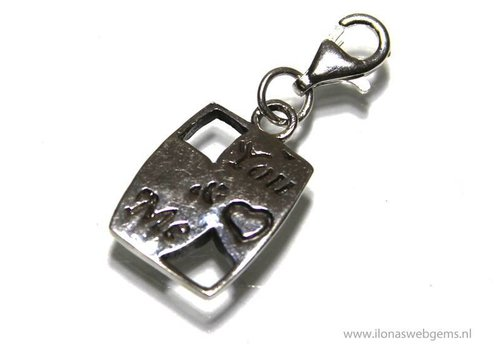 Sterling Silver Lucky charm `you & me` app. 14x10mm (Zi16-19)