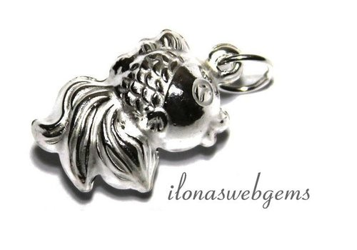 Sterling  Silver Charm sluier-Fish 16x12x8mm