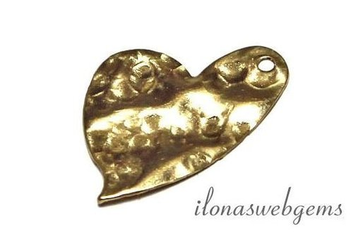 Gold filled Charm heart hammered app. 18x15x0.5mm