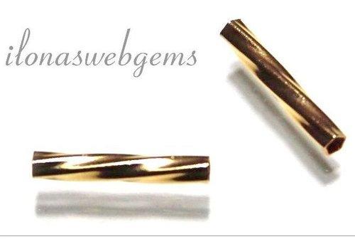 Gold gefüllte Rohr Wulst Twist um 13x2mm