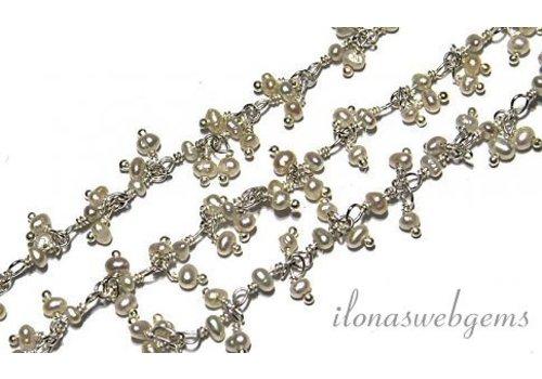 10cm Sterling Silber Halskette mit Perlen, Süßwasserperlen