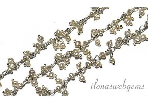 10cm sterling zilveren ketting met Kraaltjes Zoetwaterpareltjes