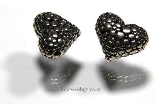 Sterling Silver bead heart app. 18x15x10mm