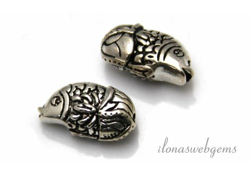 Sterling Silver beads Fish app. 17x9mm