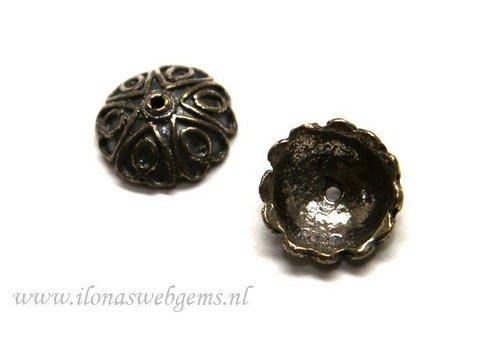 2 stücke 925/000 Silber   Perlenkap antik look ca. 12x5mm