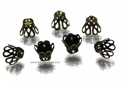10 pieces old brass beadskapje app. 8x7mm