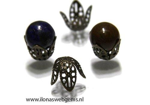 50 stuks kralenkapjes brons