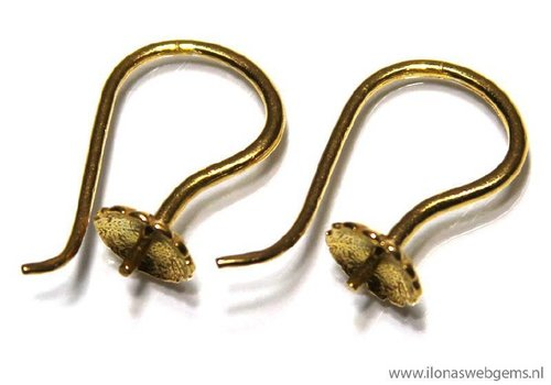 1 pair Vermeil Ear Hooks app. 17x10mm